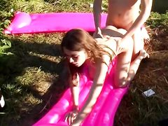 Young girl sex on the lake