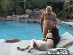 Super-Fucking-Hot brown-haired gives Granpa a headjob