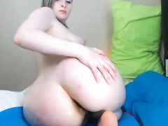 Minx spanks huge ass and stimulates sissy