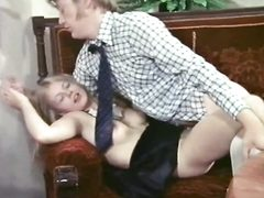 Skinny maid with blonde hair fucked by guest