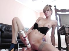 Super hot blonde cunt rides dildo on webcam