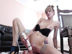 Super hot blonde cunt rides dildo on webcam