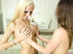Interracial lesbian fun w blonde and asian