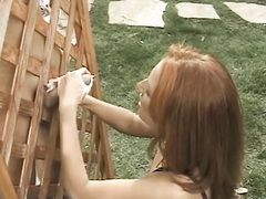 Small titted redhead  plays w pussy while jerk