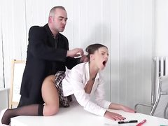 Mature man fucks young schoolgirl in office